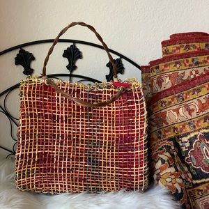 One of a kind vintage woven market tote